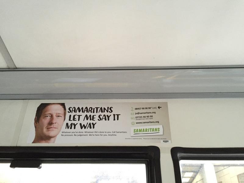 Samaritans headliner bus advert