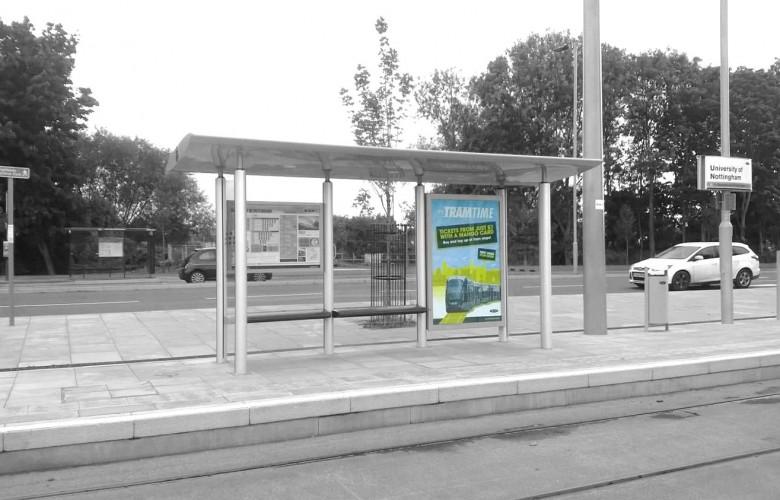 6-sheet tram stop advertising Nottingham